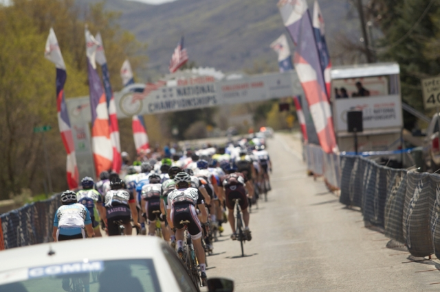 The riders approach the finish line to start another lap of the road race-Cathy Kim