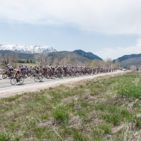 The peloton stretched out in a scenic shot from the 2013 USA Cycling Collegiate Road National Championships in Ogden