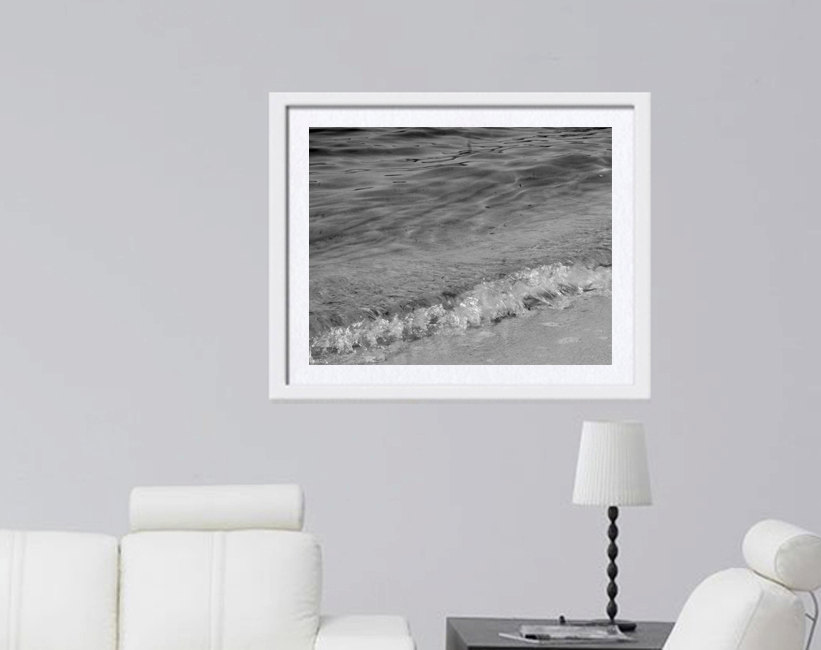 Ocean Waves Photography | Black White Wave Art | Seashore Wall Decor