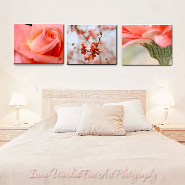 Canvas wall art set floral photography coral colors for 12x16 bedroom