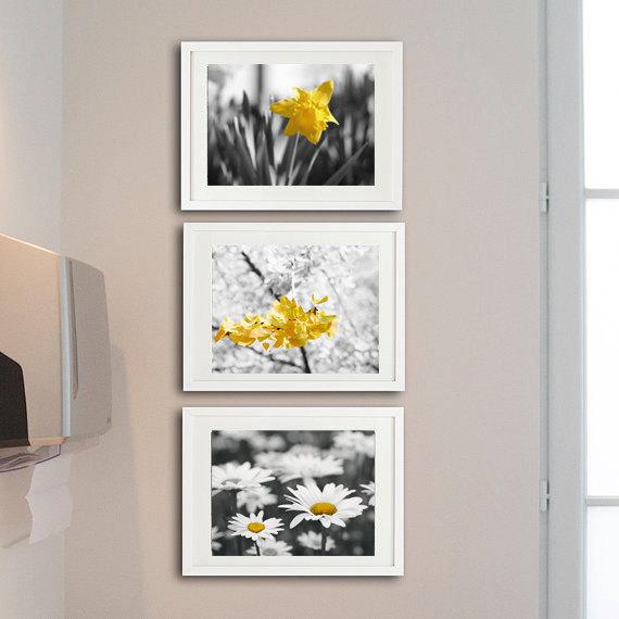 d08aa5da411 Yellow Grey Nursery Wall Art