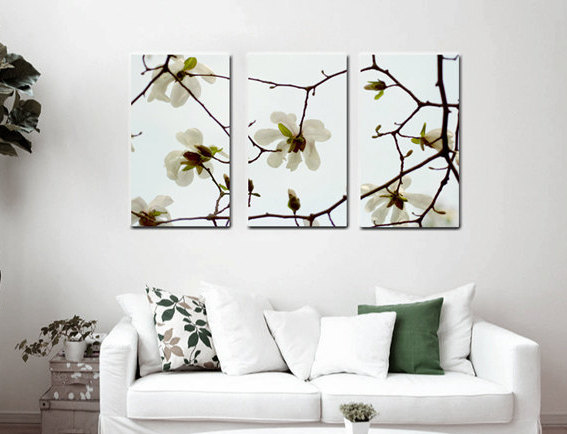 Three Panel Gallery Wrapped Canvas | White Magnolia Wall Art Decor
