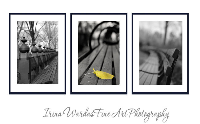 Central park benches set of 3 contemporary wall art for Black and white mural prints