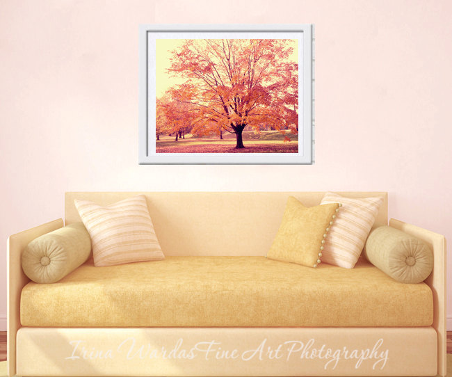 Landscape Photography | Autumn Trees Wall Decor | Pale Yellow Art