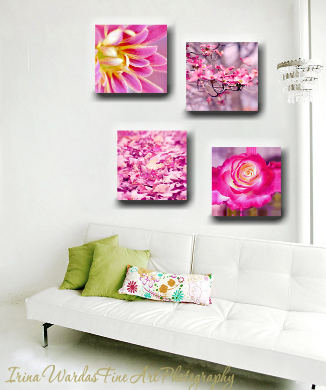Magenta wall art, canvas wall art set of 4 12x12 canvas prints, square  cavas ...