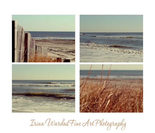 Rustic Beach Photography Set 4 Coastal Wall Art Prints Rust Mint Nautical Decor