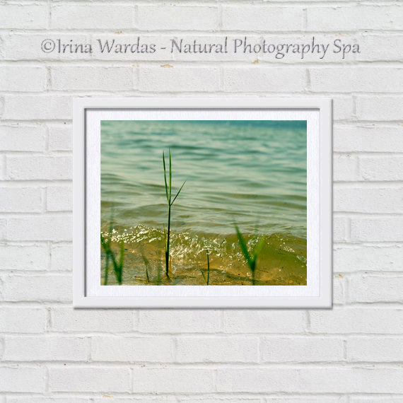 Beach Grass and Ocean Water Wall Decor Mustard Yellow Teal Colors