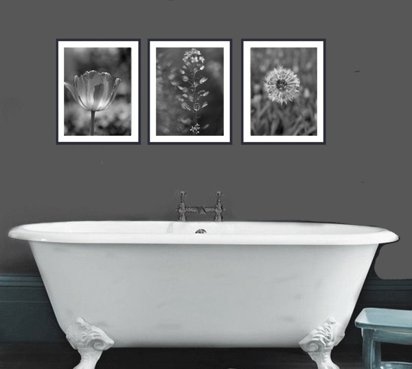 Black And White Art Nature Photography Prints Dark Grey Wall Art Set Grey  Bathroom With Black And White Bathroom Set