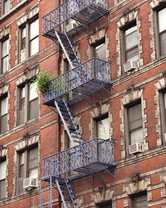 New York City Red Brick Apartments | Fire Escape Ladder Wall Art