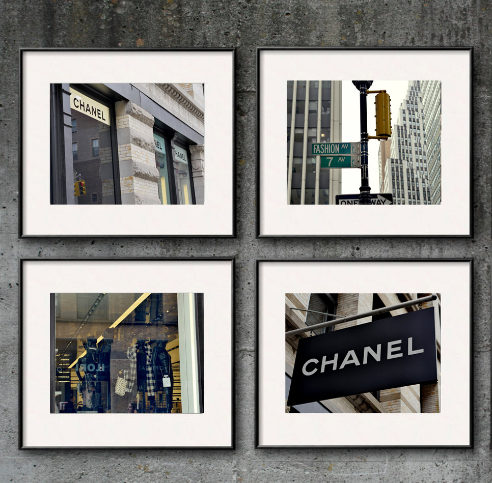 New york city fashion wall art set of 4 coco chanel wall decor fashion wall art set new york city fashion photography print set of 4 coco chanel amipublicfo Gallery