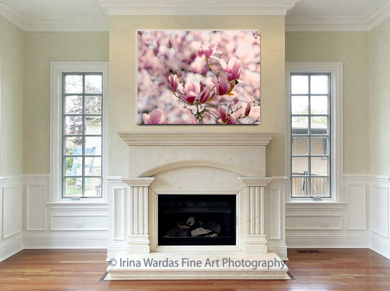 Magnolia Wall Art, Large Floral Canvas Print, Flower Photography, Red  Burgundy Peach Wall ... Part 42
