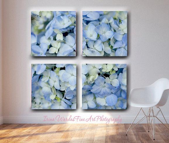 Extra Large Wall Art 4 Panel Split Canvas | Hydrangea Floral Wall Art