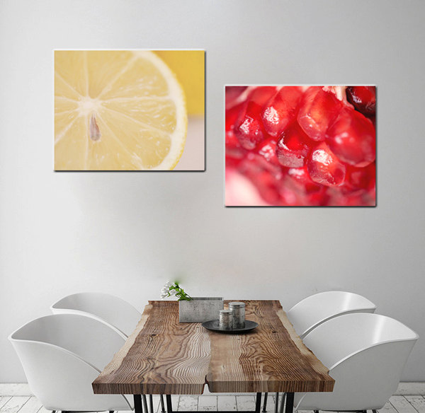 Kitchen Wall Canvas Set Modern Fruit Macro Photography Abstract Dining Room