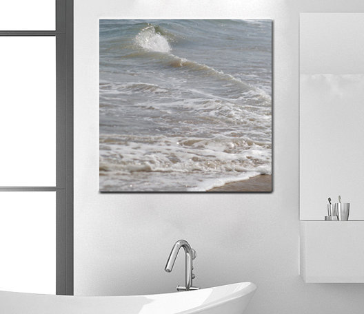 Bathroom Canvas Art | Beach Canvas Art Ocean Photography Neutral Grey Bath Wall Decor