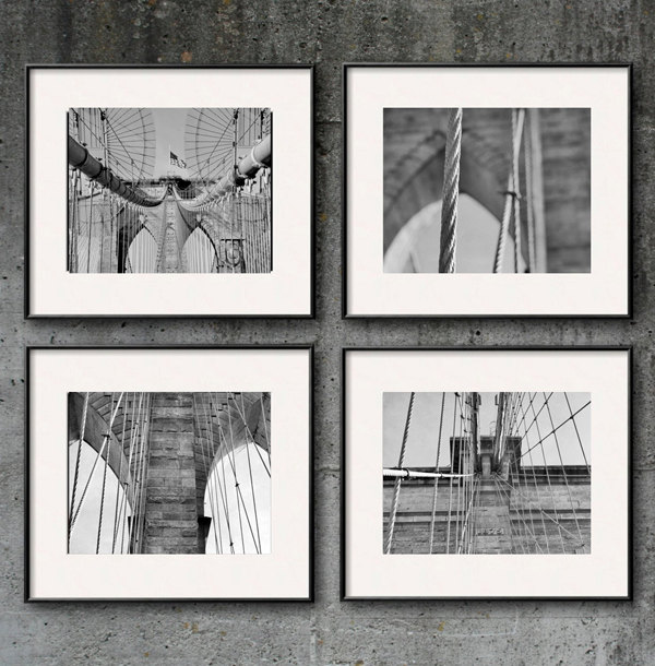 Brooklyn bridge art set of 4 nyc bridge architecture for Brooklyn bridge black and white wall mural
