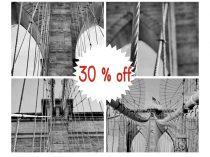 Black and white photography Brooklyn Bridge art set 4 gallery wall prints 8x10, 11x14, bridge architecture industrial art, bridge wall decor
