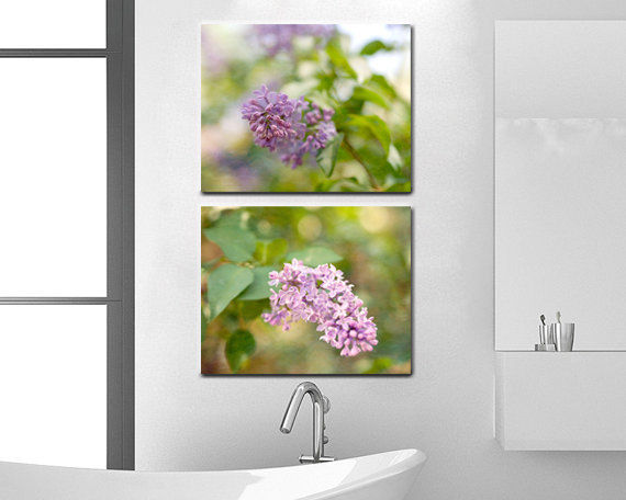 Lilac Canvas Set Of 2, Light Purple Room Decor Canvas Wall Art Two Canvas  Wrap ...