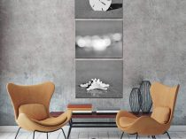 Black and white canvas beach art, grey and white wall art, three canvas set, nautical picture set, shell photography, starfish, sand dollar