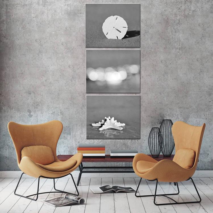 ... Coastal Bedroom Decor. Black And White Canvas Beach Art, Grey And White  Wall Art, Three Canvas Set