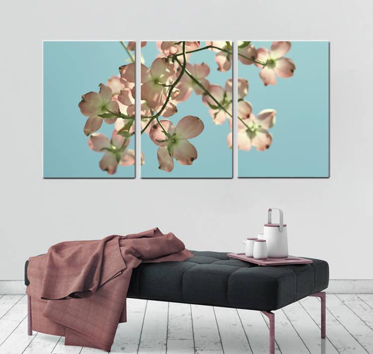 3 piece canvas art 3 panel canvas extra large 3 piece wall art pink dogwood