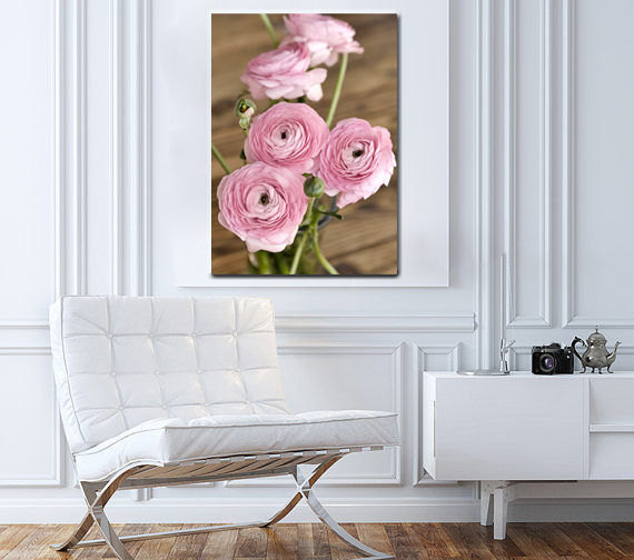 Shabby chic canvas art large floral wall art rustic for Shabby chic wall art