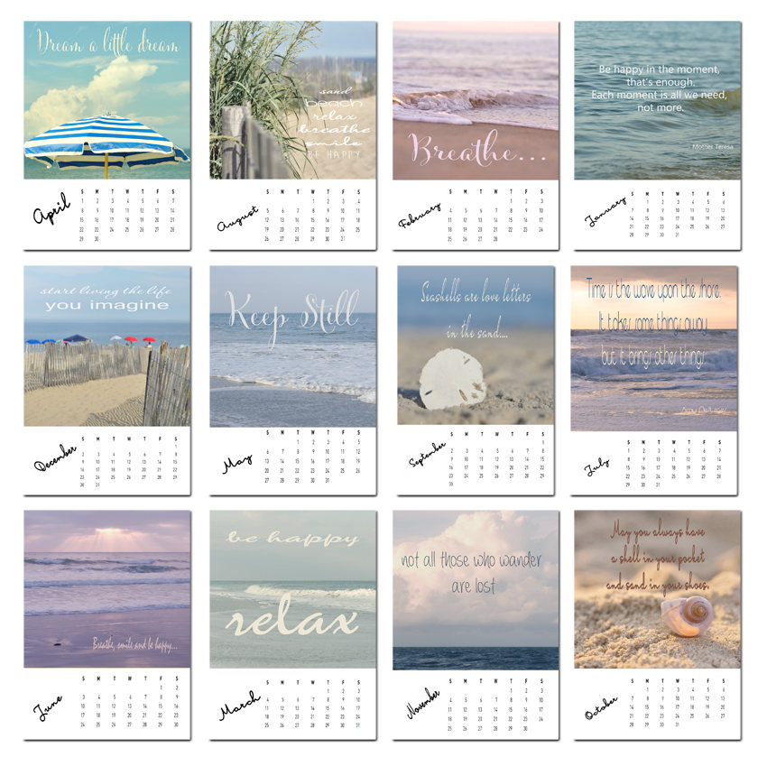 inspirational beach calendar 2018 mini desk calendars office decor