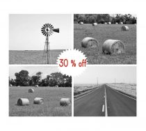 Black and white country photography prints, farmhouse decor wall art set of four prints, country rustic wall art pictures, landscape prints