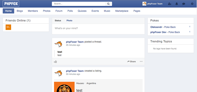 Facebook style theme