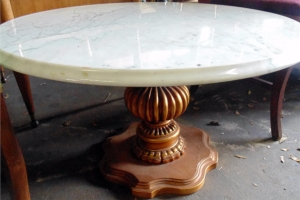 Mid Century Hollowood Regency Italian Marble Coffee Table