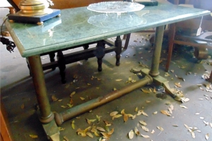 Antique Marble Top Brass table