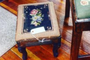 ORIGINAL NEEDLEPOINT SMALL FOOTSTOOL, CIRCA 1890