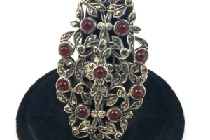 Gorgeous Vintage Garnet Marcasite & Sterling Silver Deco Ring