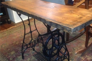 Antique White Sewing Table base with Barnwood Top