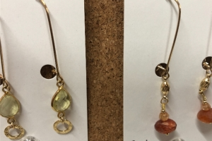 Gold-filled earrings with gemstones