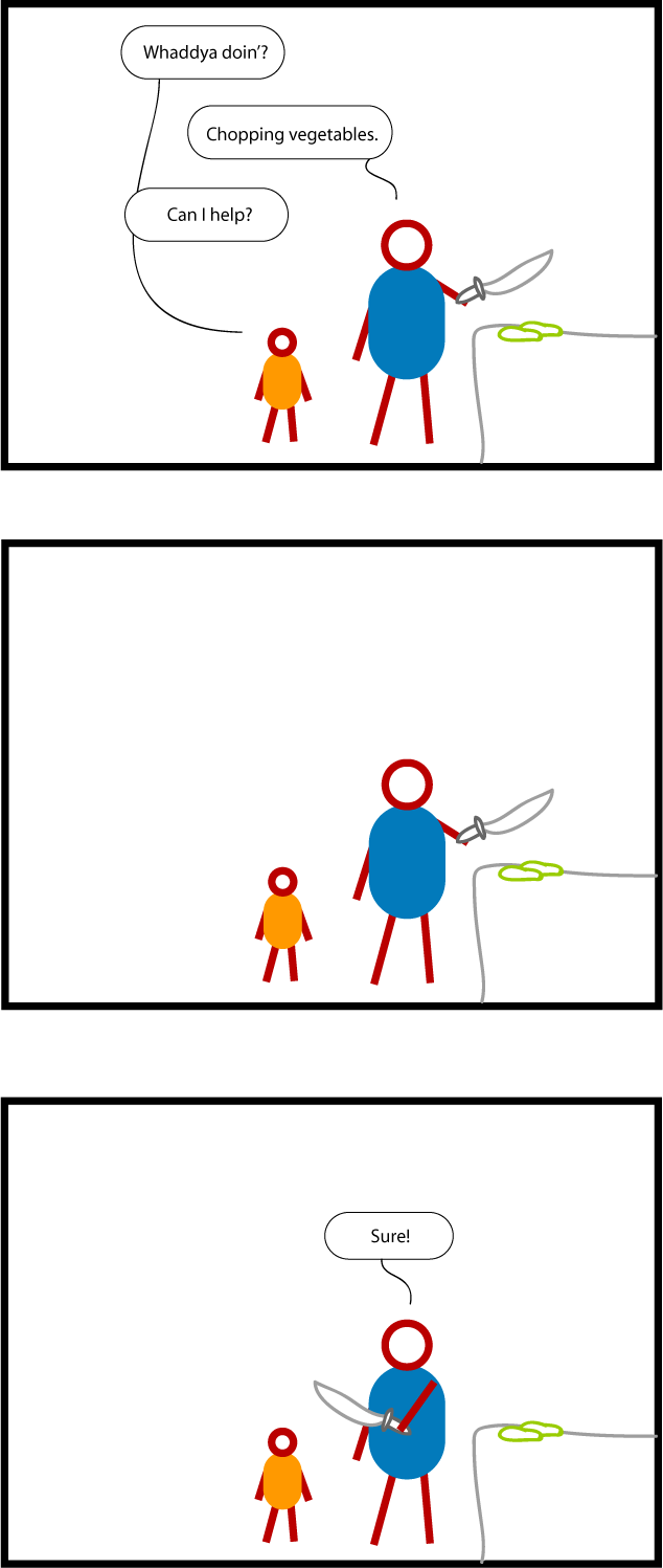 "Child: ""Whaddya doin'?"" Adult, holding a huge knife: ""Chopping vegetables."" Child: ""Can I help?."" Adult pauses, then says, ""Sure!"", handing the huge knife to the child."
