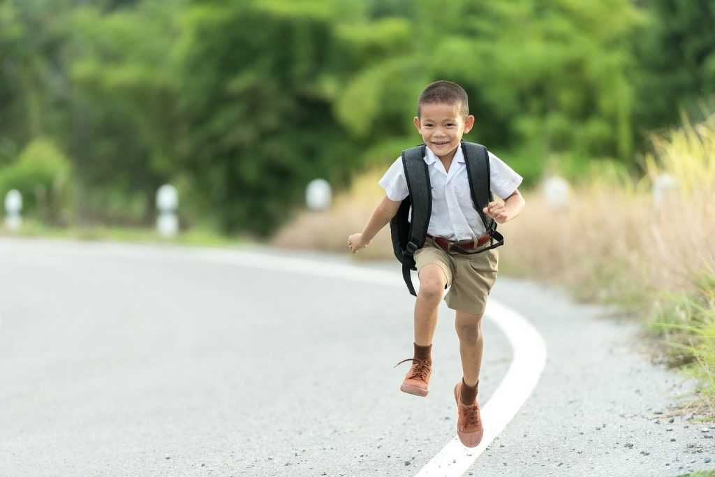 elementary student running