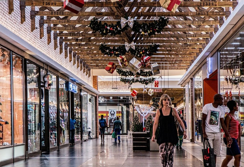 shopping mall after Christmas