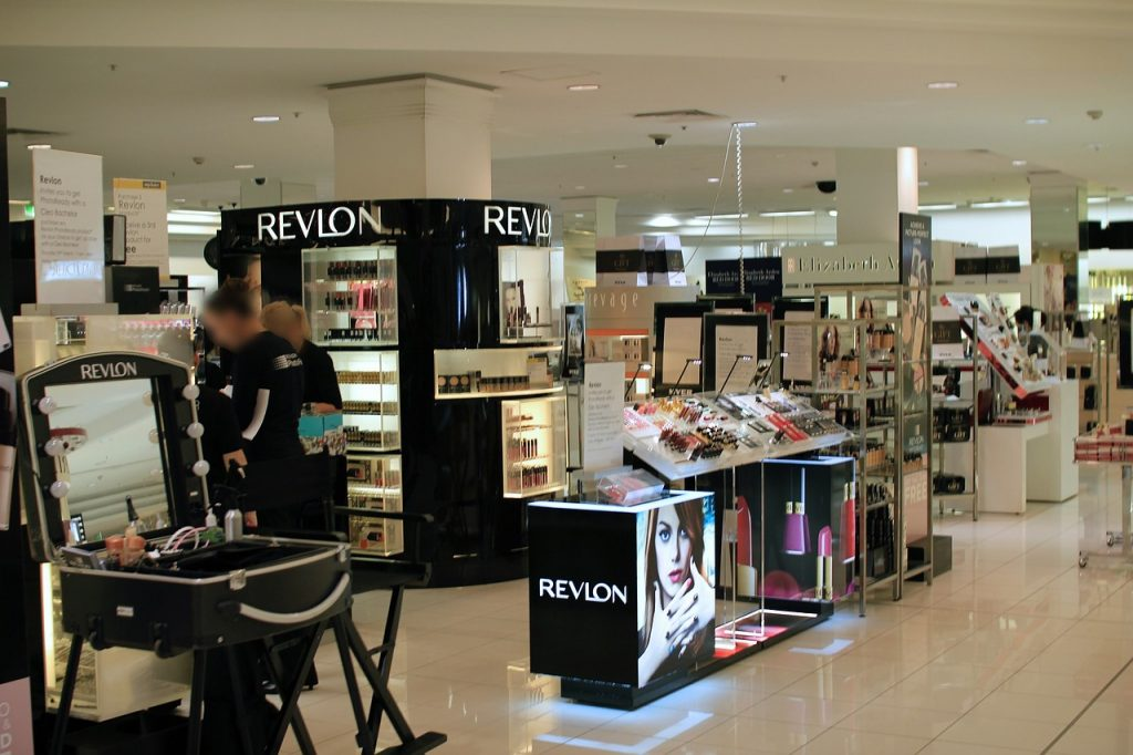 department store makeup displays