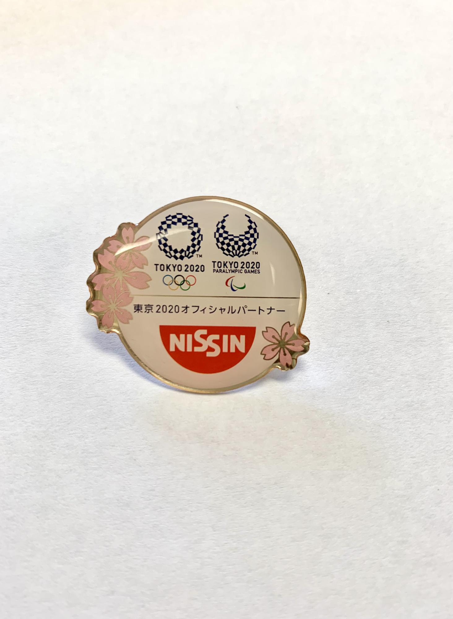 Round Nissin w/Pink Flowers, Tokyo 2020 Olympic/Paralympic Logo