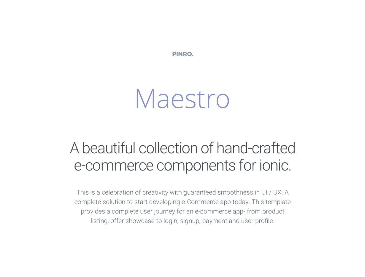 Maestro - Ionic E-Commerce Template - 1