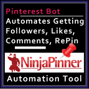 Web Banner Templates: Ninja Pinner Pinterest Automation Tool. Affiliate  Marketing Medium Size Banner.  Web Banner size: 180x180px