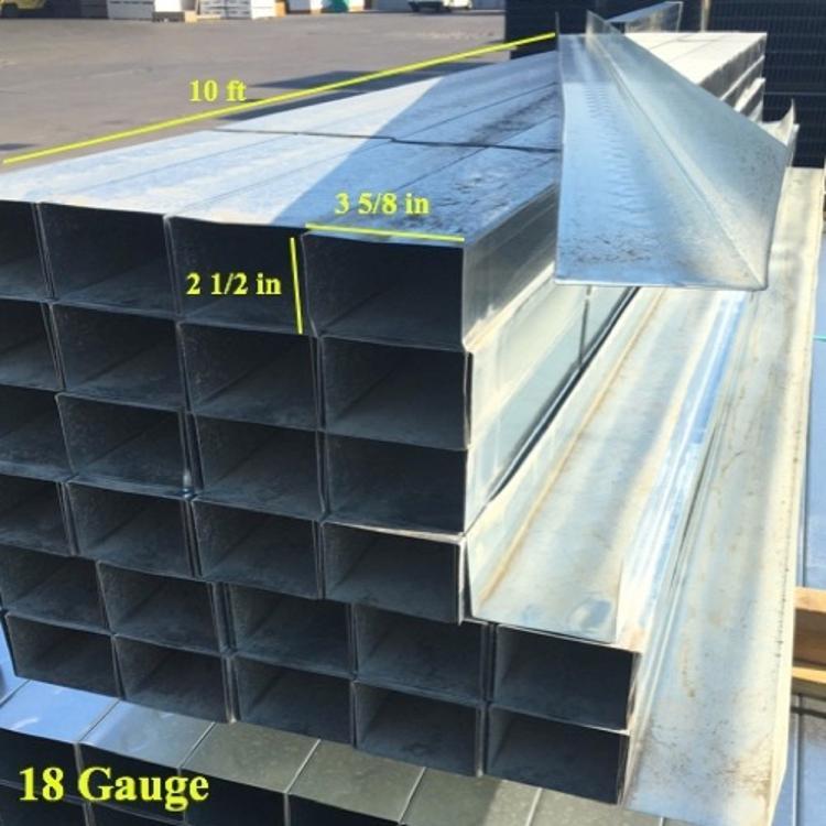 3-5/8 in x 10 ft x 18 Gauge Steel Track w/ 2-1/ 2 in Leg at