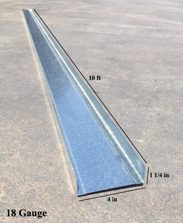 4 in x 10 ft x 18 Gauge Galvanized Steel Track w/ 1-1/4 in