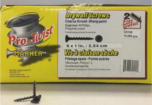 1 in Coarse Wood Drywall Screws - 10,000/ctn
