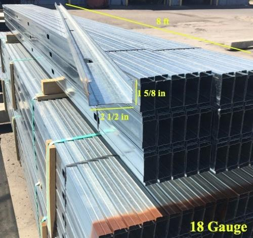 2 1/2 in x 8 ft x 18 Gauge 43 mil Structural Steel Stud w/ 1 5/8 in Flange