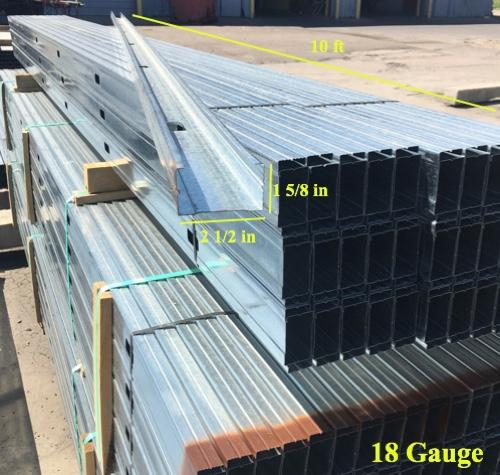 2 1/2 in x 10 ft x 18 Gauge 43 mil Structural Steel Stud w/ 1 5/8 in Flange