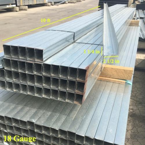2 1/2 in x 10 ft x 18 Gauge 43 mil Structural Steel Track w/ 1 1/4 in Leg