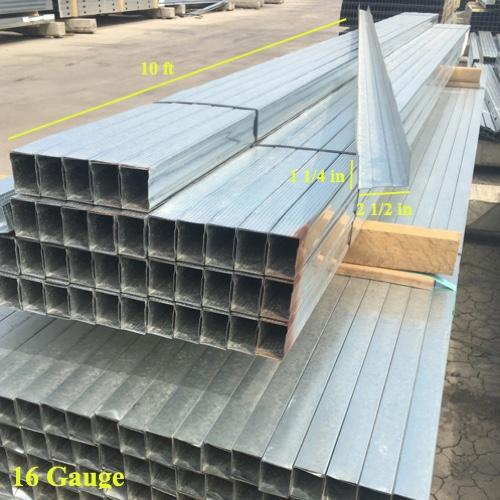 2-1/2 in x 10 ft x 16 Gauge Galvanized Track w/ 1-1/4 in Leg