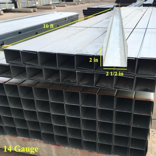 2 1/2 in x 10 ft x 14 Gauge 68 mil Structural Steel Track w/ 2 in Leg
