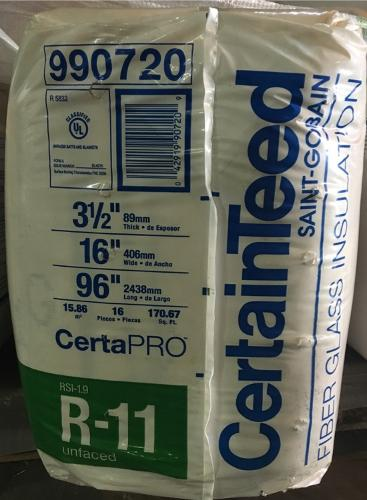 R11 3 1 2 In X 16 In Certainteed Unfaced Insulation At